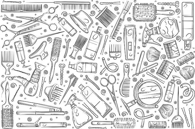Ręcznie rysowane narzędzia salon fryzjerski.
