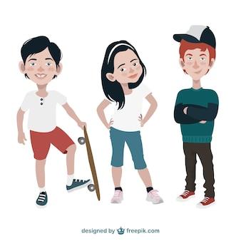 Ręcznie rysowane nastolatki
