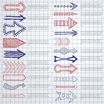 Ręcznie rysowane naszkicowane strzałki w zestawie różnych kształtów.