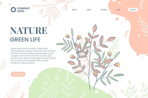 Ręcznie rysowane natura szablon strony docelowej przyrody