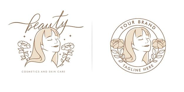 Ręcznie rysowane naturalne piękno kobiece logo szablon