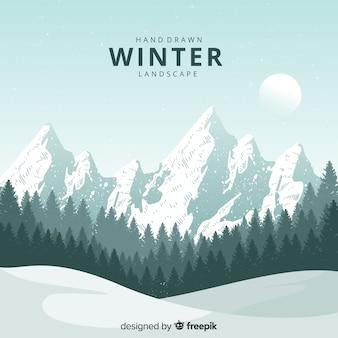 Ręcznie rysowane naturalny zimowy krajobraz