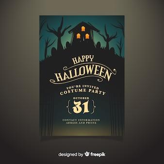 Ręcznie rysowane nawiedzony dom halloween party plakat szablon