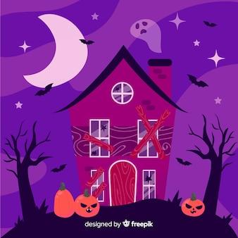 Ręcznie rysowane nawiedzony dom halloween