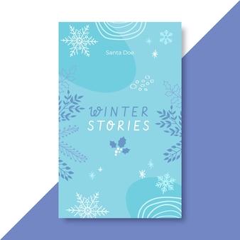 Ręcznie rysowane niebieska zimowa okładka książki