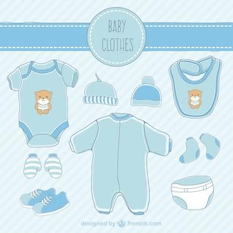 Ręcznie rysowane niebieskie ubrania dla dzieci