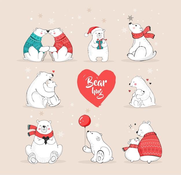 Ręcznie rysowane niedźwiedź polarny, słodki zestaw misia, matka i dziecko niedźwiedzie, kilka niedźwiedzi. życzenia wesołych świąt z misiami