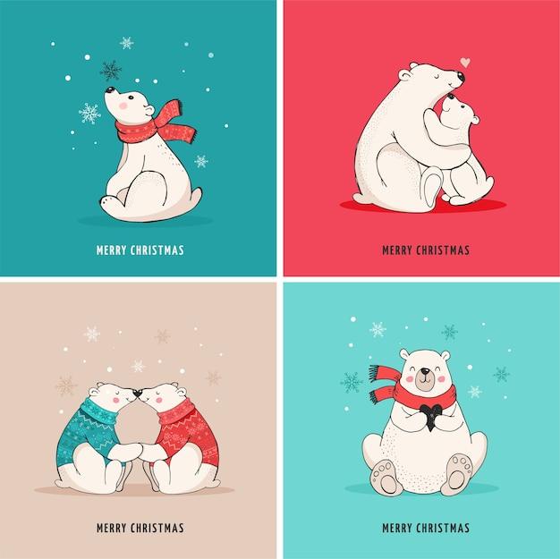 Ręcznie Rysowane Niedźwiedź Polarny, Słodki Zestaw Misia, Matka I Dziecko Niedźwiedzie, Kilka Niedźwiedzi. życzenia Wesołych świąt Z Misiami Premium Wektorów