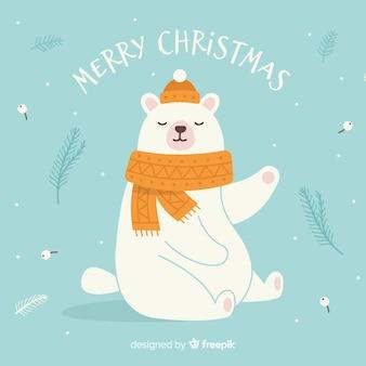 Ręcznie rysowane niedźwiedź polarny tło boże narodzenie