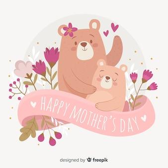 Ręcznie rysowane niedźwiedzie tło dzień matki
