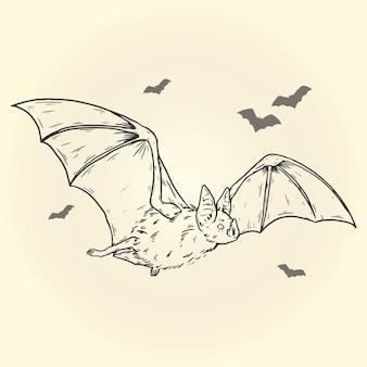 Ręcznie rysowane nietoperza halloween