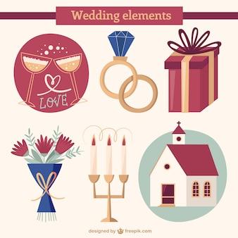 Ręcznie rysowane niezbędne akcesoria ślubne