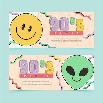 Ręcznie rysowane nostalgiczne banery z lat 90.