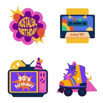 Ręcznie rysowane nostalgiczne etykiety i odznaki urodzinowe z lat 90.