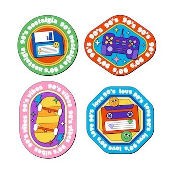 Ręcznie rysowane nostalgiczne odznaki z lat 90.