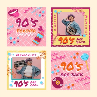 Ręcznie rysowane nostalgiczne posty na instagramie z lat 90. ze zdjęciem