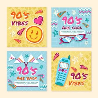 Ręcznie rysowane nostalgiczne posty na instagramie z lat 90.