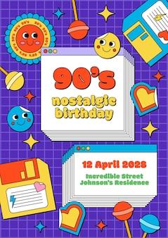 Ręcznie rysowane nostalgiczne zaproszenie na urodziny z lat 90.