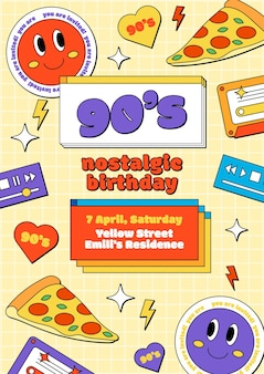 Ręcznie rysowane nostalgiczne zaproszenie na urodziny