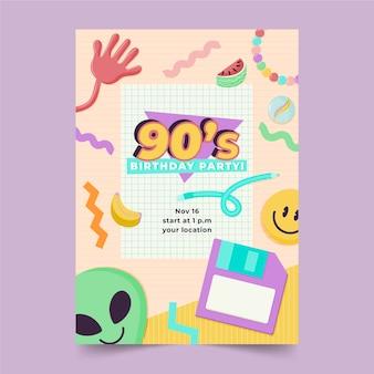 Ręcznie rysowane nostalgiczny szablon zaproszenia na urodziny z lat 90.