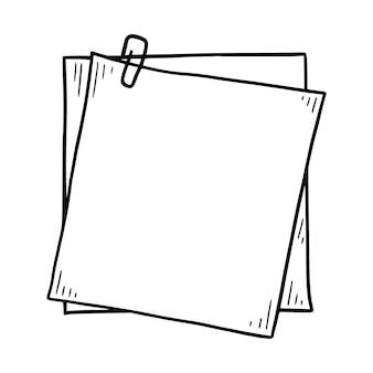 Ręcznie rysowane notatki papierowe lepkie doodle