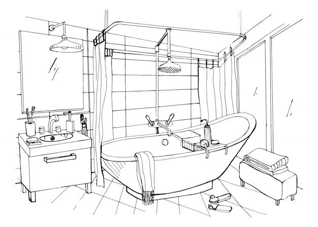 Ręcznie rysowane nowoczesne łazienki wnętrza. szkic ilustracji.
