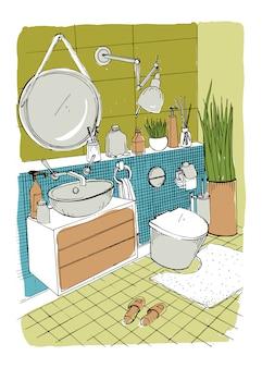 Ręcznie rysowane nowoczesne łazienki wnętrza.