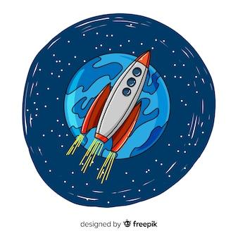 Ręcznie rysowane nowoczesnej rakiety kosmicznej