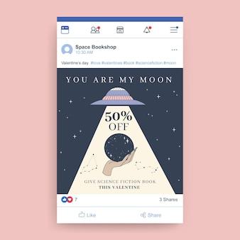 Ręcznie rysowane nowoczesny post na facebooku w walentynki