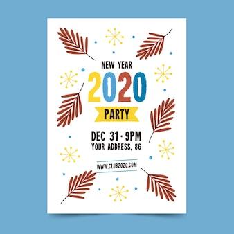 Ręcznie rysowane nowy rok 2020 szablon strony ulotki / plakat