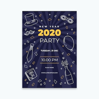 Ręcznie rysowane nowy rok 2020 szablon ulotki partii