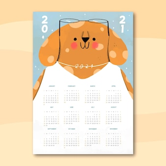 Ręcznie rysowane nowy rok 2021 kalendarz z psem