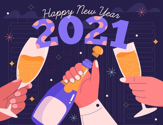 Ręcznie rysowane nowy rok 2021