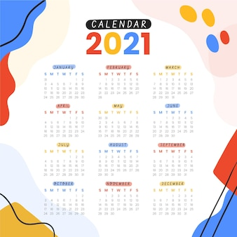 Ręcznie rysowane nowy rok kalendarzowy 2021
