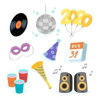 Ręcznie rysowane nowy rok party element kolekcji