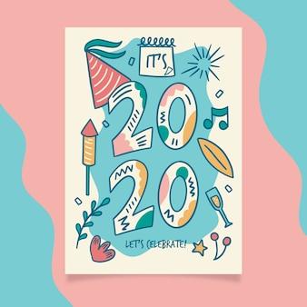 Ręcznie rysowane nowy szablon yer party plakat