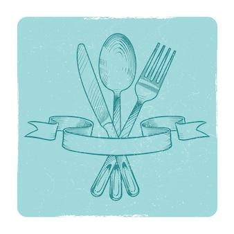Ręcznie rysowane nóż, łyżka i widelec w retro wstążkami izolować. ilustracji wektorowych