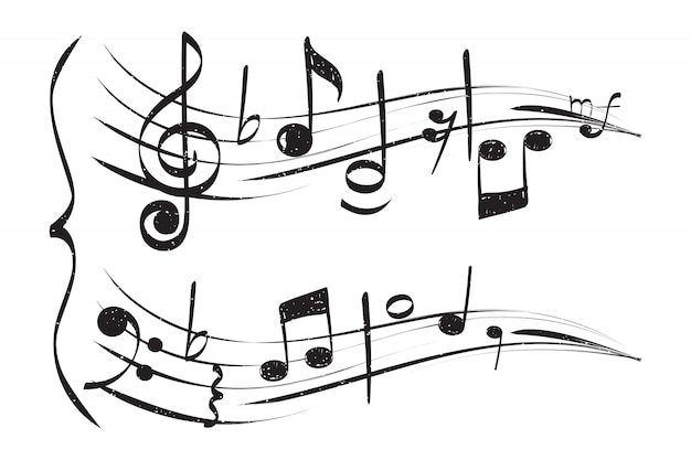 Ręcznie rysowane nutka. pięcioliniowy treble clef zauważa muzyka na białym tle