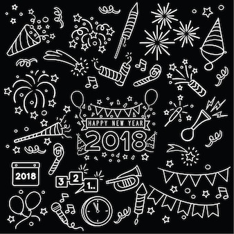 Ręcznie rysowane obchody nowego roku