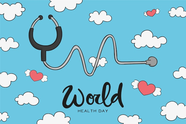Ręcznie rysowane obchody światowego dnia zdrowia