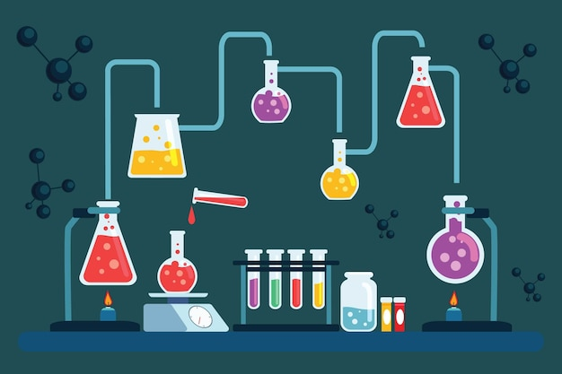 Ręcznie rysowane obiekty laboratorium naukowego i atomów