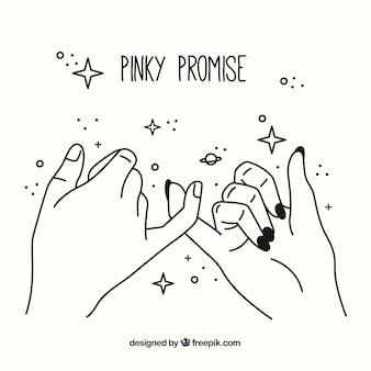 Ręcznie rysowane obietnica pinky koncepcji
