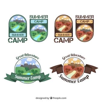 Ręcznie rysowane obóz letni kolekcja logo