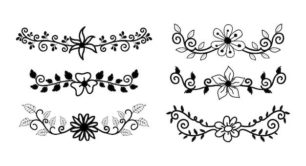 Ręcznie rysowane obramowania elementów zestaw kolekcja kwiatowy ornament wirowa wektor