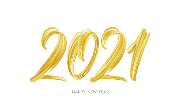 Ręcznie rysowane obrysu pędzla złoty kolor farby napis 2021.