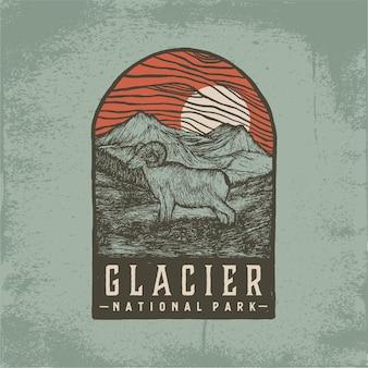 Ręcznie rysowane odznaka glacier national park