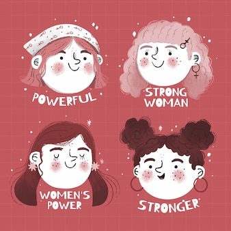 Ręcznie rysowane odznaka międzynarodowy dzień kobiet