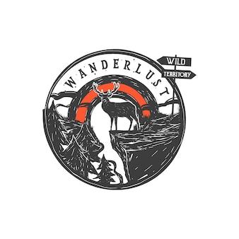 Ręcznie rysowane odznaka pustyni i inspirujący napis