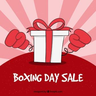 Ręcznie rysowane odznaka sprzedaż boxing dzień z duże pudełko i rękawiczki