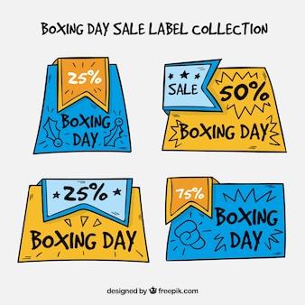 Ręcznie rysowane odznaka sprzedaż dzień boksu